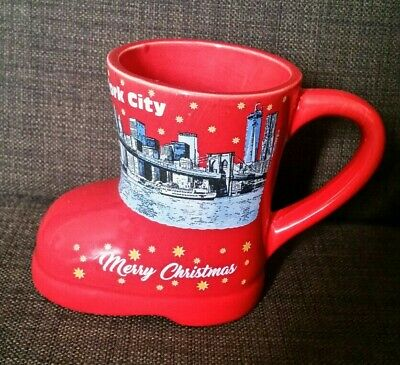 German Christmas Market Red Boot Shaped Mug Cup New York City • 5.50£