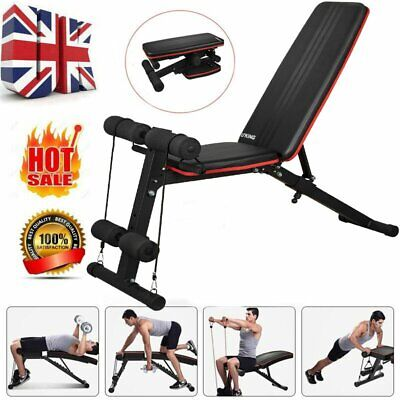 Adjustable Weight Bench Multi Gym Sit Up Bench Fitness Workout Exercise Dumbbell • 50.99£