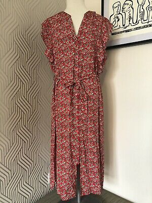 Papaya Red Floral Tea Dress Size 16  • 3.99£