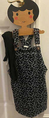 Next Grey Cord Leopard Print Dungaree Dress Age 5-6 Years And Tights • 3.10£