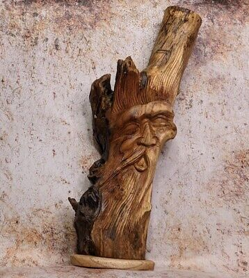 Green Man Of The Woods Forest Man Wizard Sculpture Bust  Hand Carved  • 37.75£