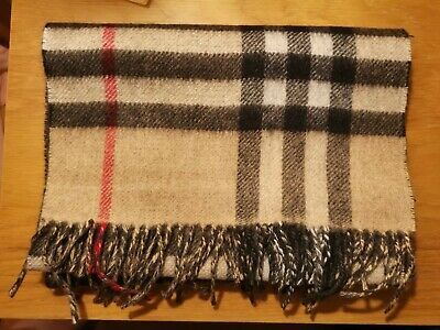 Burberry Cashmere Giant Check Camel And Grey Colour Scarf • 88£