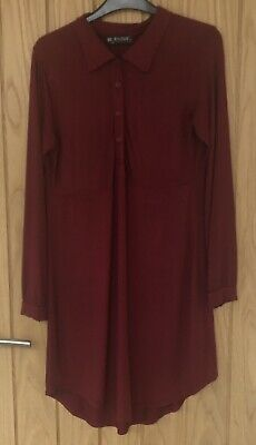 Ladies SELECT Burgundy Long Sleeved Collared Button Up Shirt Dress Size S/M UK12 • 4.95£