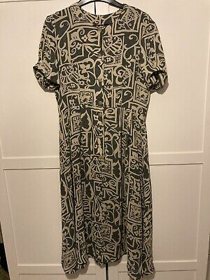 Vintage Oversized Midi Shirt Dress Approx Size Small Retro 90s Grunge Geo Floral • 13.99£