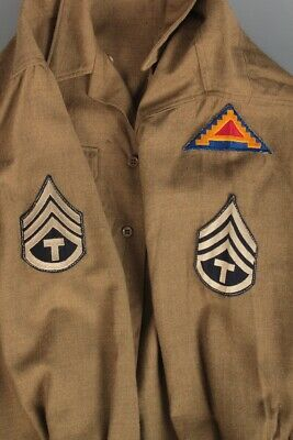 Men's 1940s WWII 7th US Army Patched Wool Shirt 15.5x33 M Technician 40s Vtg WW2 • 36.57£