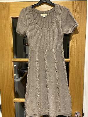 Gorgeous Monsoon Size S Soft Cotton Angora Knitted Jumper Dress Mushroom Beige • 6£