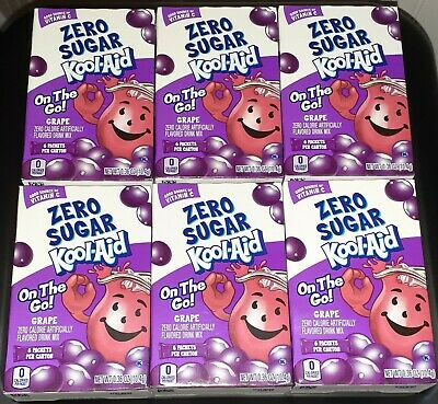 Kool Aid On The Go Zero Sugar Grape Drink Mix Singles (Lot Of 6 Boxes) 36 Packet • 22.96£