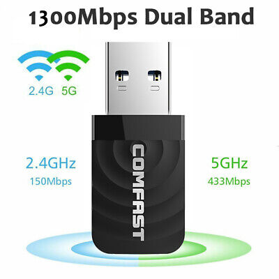 £9.99 • Buy 1300Mbps USB 3.0 Wireless WiFi Network Receiver Adapter 5GHz Dual Band Dongle