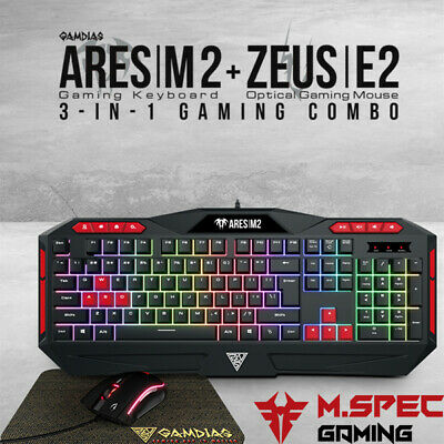 AU43 • Buy PC Gaming Keyboard+Mouse+Mousepad Combo Multi-Colour Backlight Gamdias Ares M2