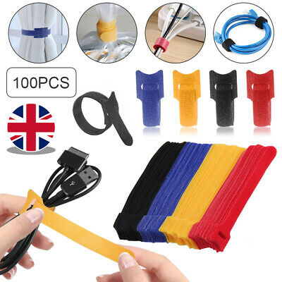 100X Reusable Nylon Wire Hook Loop Organiser Cable Ties Wrap Tidy Straps UK • 5.49£