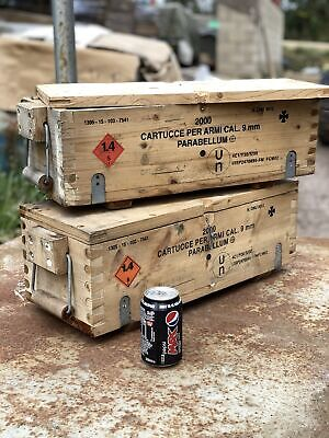 $41.61 • Buy 2x Ex Army Military Wooden Ammo Box Ammunition Chest Jeep Tools Vehicle Storage