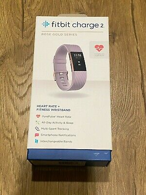 AU74.92 • Buy Fitbit Charge 2 Rose Gold Lavender Band Barely Used Tested Works Large In Box