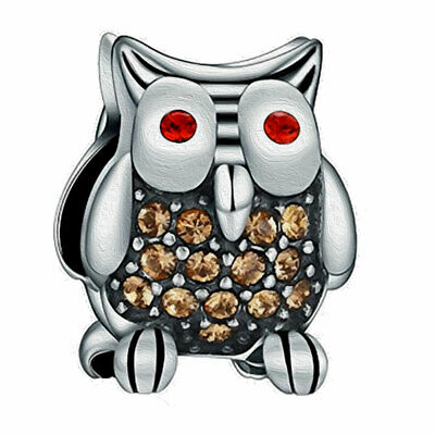 Double Sided Owl Charm Bead - S925 Silver - Christmas Gift Hedwig • 4.95£