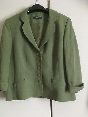 Alex&Co Lined Green 3/4 Sleeve Jacket Size14 • 1.40£