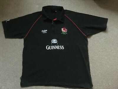 Men's Black  Cotton Traders  Guinness England Rugby Polo Shirt Size 2xl • 1.99£