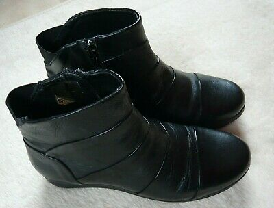PAVERS Black Leather Ankle Boots Size 5 • 17.50£