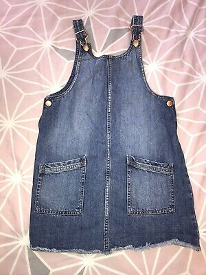 Girls Denim Dungaree Dress Age 11-12 Years Used Front Pockets • 0.99£