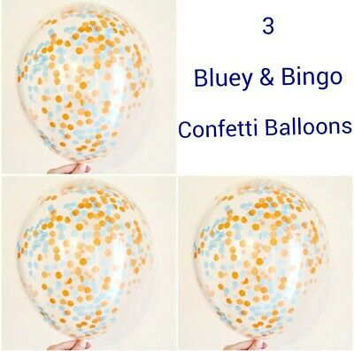 AU11.99 • Buy 3x 11 ' BLUE BLUEY AND BINGO CONFETTI BALLOONS BIRTHDAY PARTY LIMITED PRICE 1ST