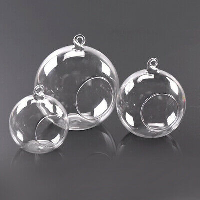 Clear Glass Ball Shape Hanging Candle Tea Light Holders Candlesticks Party Decor • 8.95£