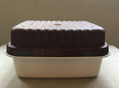 Vintage Tupperware Defrost Container Storage Box For Meat Brown Cream Lid • 8£