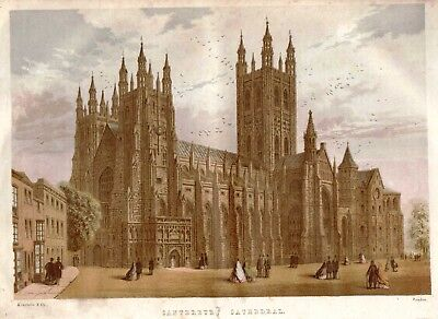 Canterbury Cathedral - Antique Kronheim Print From Sunday At Home, 1864 • 2.50£