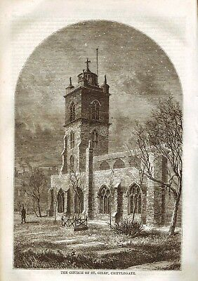 The Church Of St Giles', Cripplegate - Antique Print From Sunday At Home 1864 • 2.50£