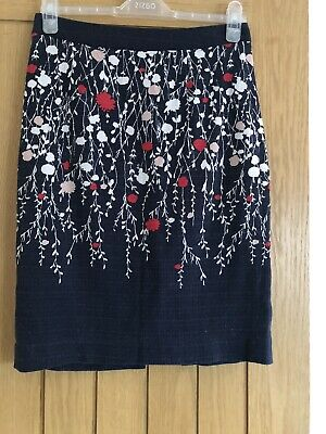 Womens Boden Skirt Size 10R Navy Floral Cotton Lined • 8.99£