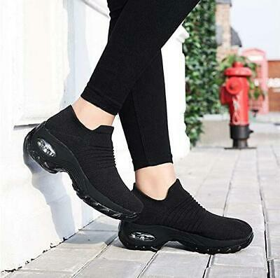 Ladies Womens Slip On Sock Wedge Sneakers Classic Jogging Pumps Shoes Trainers + • 12.59£