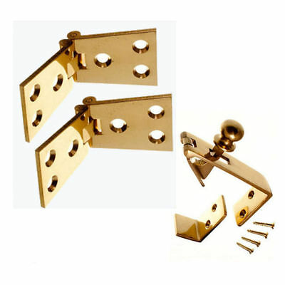Counter Flap Catch & Stay Solid Polished Brass + Hinges 102mm X 38mm Set / Pack • 15.58£