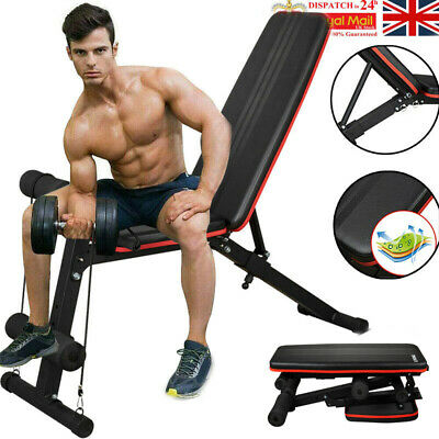 Weight Bench Multi Adjustable Gym Workout Exercise Flat Incline Decline Sit Up • 24£