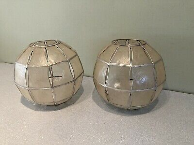 A Retro Matching Pair Of Capiz Shell Mother Of Pearl Sphere Round Lightshades • 35£