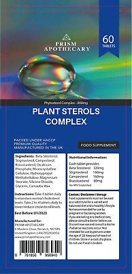 £5.99 • Buy PLANT STEROLS 600MG COMPLEX - 60 Tablets