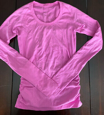 $ CDN57.99 • Buy Lululemon Swiftly Tech Long Sleeve Scoop Size 4 Ruched Pow Pink Silverescent