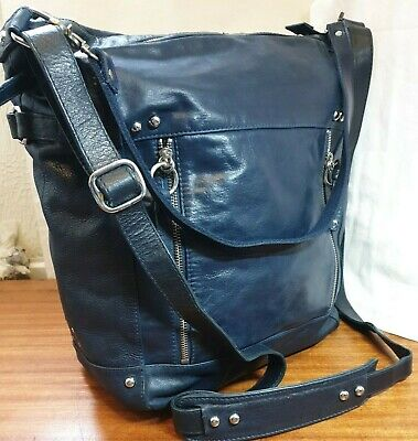 Autograph (m & S) Large 100% Soft  Blue Leather  Shoulder -travel - Work Bag • 42£