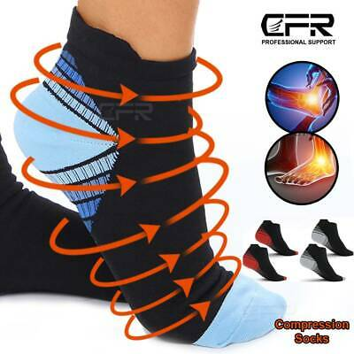 Sport Compression Socks Heel Foot Arch Ankle Pain Plantar Fasciitis Support CFR • 6.49£