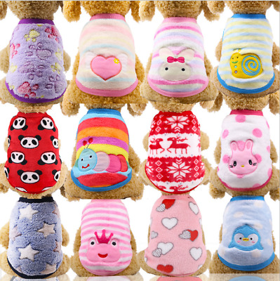Pet Fleece Clothes Puppy Dog Jumper Sweater Small Yorkie Chihuahua Cat Outfit UK • 3.89£