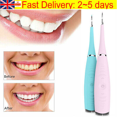 Electric Sonic Dental Scaler Plaque Tartar Calculus Remover Tooth Stains Tools • 7.99£