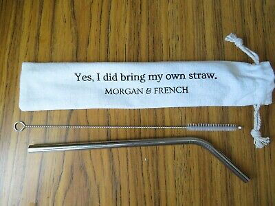 Morgan & French Stainless Steel Straw And Cleaning Brush With Carrying Cloth Bag • 3£