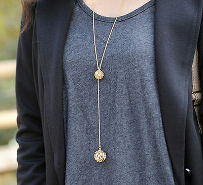 Fashion Womens Double Hollow Ball Pendant Long Chain Necklace Gold & Silver • 2.49£