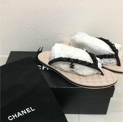 £422.35 • Buy Auth CHANEL CC Charm Chain Flip Flops Thong Beach Sandals Size 35 Black Used F/S