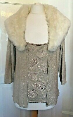 Alex & Co Gold Embroidered Jumper With Fur Collar Size 14 • 3.99£