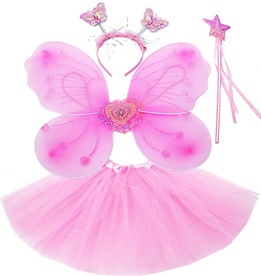 Fun Play Fairy Costume Fancy Dress Up For Girls Butterfly Wings, Tutu, Magic And • 15.10£
