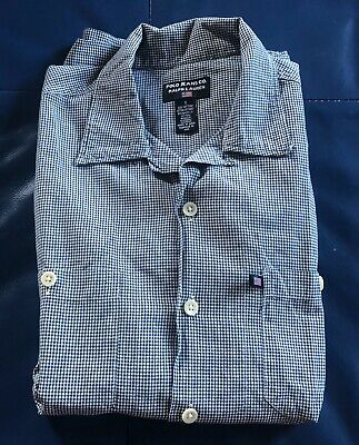 Men's New RALPH LAUREN Long Sleeve Gingham Check Shirt. Small. White/Blue. • 9.99£