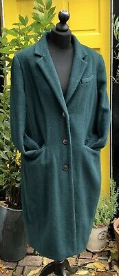 M&S Marks & Spencer Autograph Coat Green Oversized Cacoon Soft Wool Blend UK 18 • 14.99£