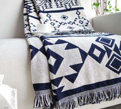 Reversible Geometric Aztec Navajo Cotton Rug Sofa Throw Blanket Tapestry 130x170 • 23.99£