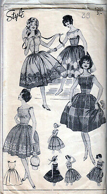 VTGE 50s SEWING PATTERN STYLE 1205 ROCKABILLY S/LESS FULL-SKIRT DRESS 36  M10A • 7.99£