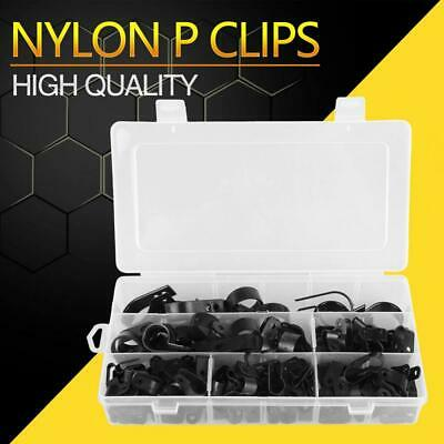 £10.69 • Buy Nylon P Clips Black Plastic Clamp Assortment Kit For Wire Cable Pipe PlasticBox