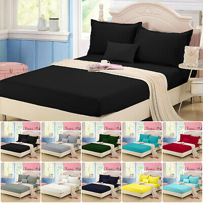 AU29.13 • Buy 1000TC Wrap Around Elastic Fitted Sheet Set Double/Queen/King/Superking Size Bed