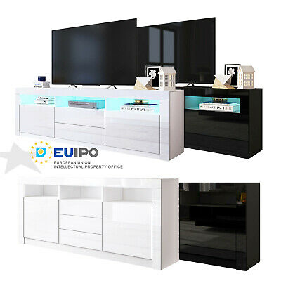 160cm LED Light TV Stand Unit Cabinet Sideboard Wooden High Gloss 2 Or 3 Drawers • 149.99£
