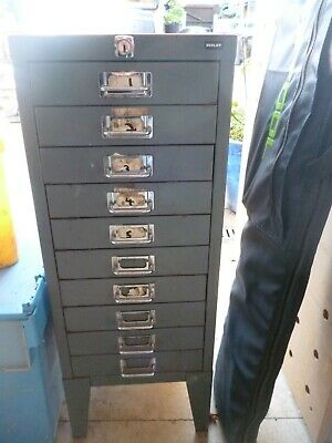 Vintage Metal Storage Drawers Filing Cabinet • 10.50£